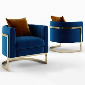 Julius Mica Blue Gold Club   Armchair 3d model Download  Buy 3dbrute