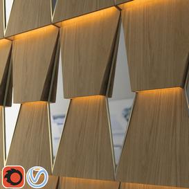 3d wooden wall panel with mirror 3d model Download  Buy 3dbrute