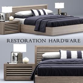 Restoration Hardware Grand Shutter bed LT 3d model Download  Buy 3dbrute