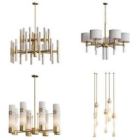 Wide Antique Brass Chandelier and pendant lamps 3d model Download  Buy 3dbrute