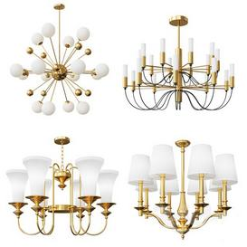 Four Nice Modern and Classic Chandeliers 3d model Download  Buy 3dbrute