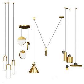 Four Hanging Lights-2 3d model Download  Buy 3dbrute