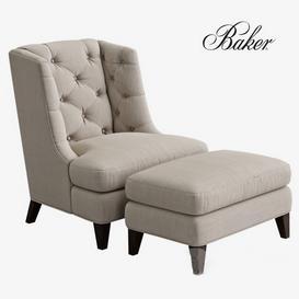 BAKER Moderne Wing  Armchair 3d model Download  Buy 3dbrute