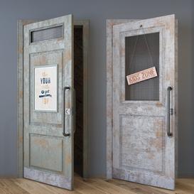 Aged loft style doors 3d model Download  Buy 3dbrute