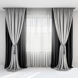 black white silk curtain 3d model Download  Buy 3dbrute