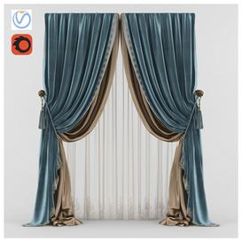 Classic blue silk curtain 3d model Download  Buy 3dbrute
