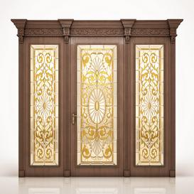Classical door with a stained-glass window 3d model Download  Buy 3dbrute