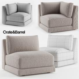 Crate & Barrel Moda Armless Chair - Moda Corner Chair 3d model Download  Buy 3dbrute