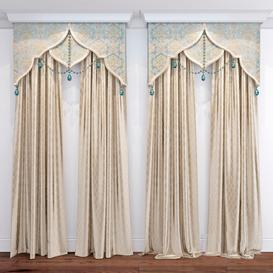 curtains with bandeau 3d model Download  Buy 3dbrute