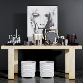 Decorative console table set - 2 3d model Download  Buy 3dbrute