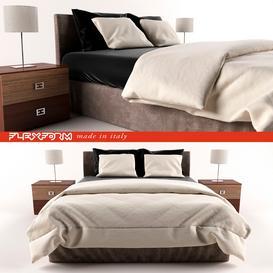 Flexform modern bed 3d model Download  Buy 3dbrute