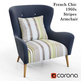 French Chic 1960s Stripes Armchair 3d model Download  Buy 3dbrute
