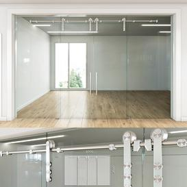 Glass partition with sliding doors - 4 3d model Download  Buy 3dbrute