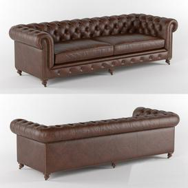 Kensington Leather Sofa Restoration Hardware 3d model Download  Buy 3dbrute