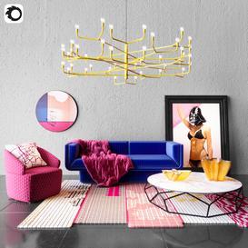 Living room furnirure set 3d model Download  Buy 3dbrute