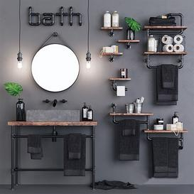 Loft Bathroom Set 3d model Download  Buy 3dbrute