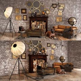 Loft decorative set 3d model Download  Buy 3dbrute