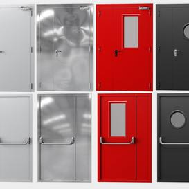 Metal fire doors  4 colors 3d model Download  Buy 3dbrute