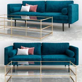 Monroe Mid Century Sofa Celestial Blue 3d model Download  Buy 3dbrute