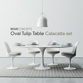 Oval Tulip Table 78  Calacatta set 3d model Download  Buy 3dbrute