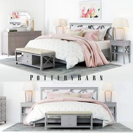Pottery Barn Clara Lattice Bed set 1 3d model Download  Buy 3dbrute
