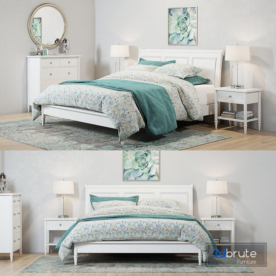 Pottery Barn Crosby White Bedroom set 9d model Buy Download 9dbrute