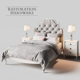 Restoration Hardware Paulette Tufted bed 3d model Download  Buy 3dbrute