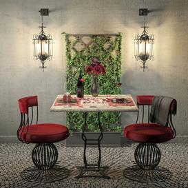 Romantic Dinner Table Outdoor 3d model Download  Buy 3dbrute