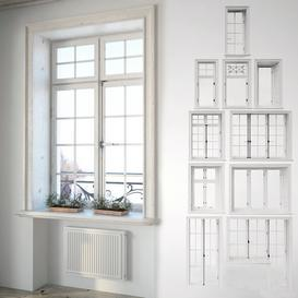 Set of classic windows with decor 3d model Download  Buy 3dbrute