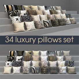 set of luxury 34 pillows 3d model Download  Buy 3dbrute