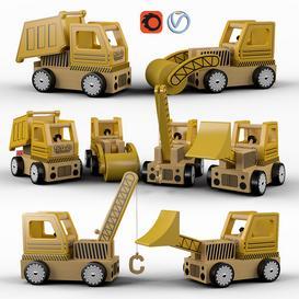 Set of toys  wooden cars 3d model Download  Buy 3dbrute