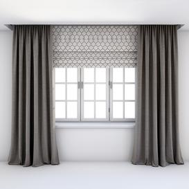 Straight floor and roman blinds 3d model Download  Buy 3dbrute