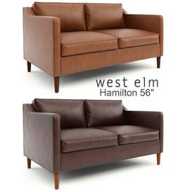 West Elm   Hamilton Leather Sofa 56 3d model Download  Buy 3dbrute