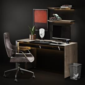 Workplace with Graph Chair 3d model Download  Buy 3dbrute