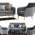 Sillon and sofa retro tela gris patas