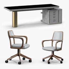 Baxter Verba Volant Desk and Giorgetti Baron Armchair 3d model Download  Buy 3dbrute
