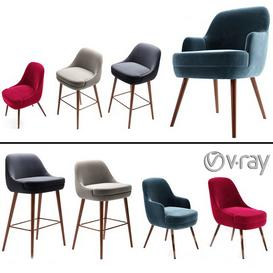 375 walter knoll dining chair & bar stool 3d model Download  Buy 3dbrute