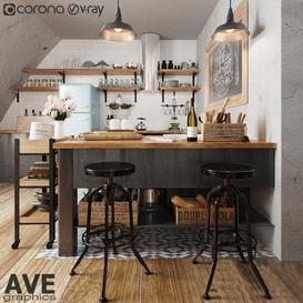 AVE Kitchen bar volume 3d model Download  Buy 3dbrute