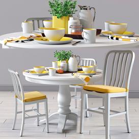 C&B Delta Dinning Chair and Avalon Table 3d model Download  Buy 3dbrute