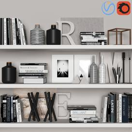decorative set with books 02 3d model Download  Buy 3dbrute