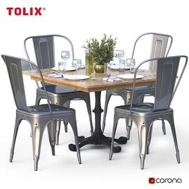 dining set and tolix chair 3d model Download  Buy 3dbrute