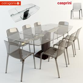 Dining table and chairs Calligaris 3d model Download  Buy 3dbrute