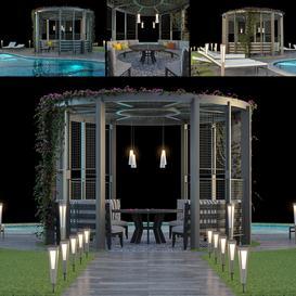 Gazebo and Swimming Pool #6 3d model Download  Buy 3dbrute