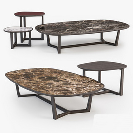 Poliform Tridente coffee tables set 3d model Download  Buy 3dbrute