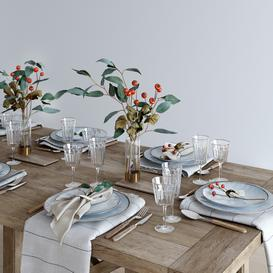 Rustic table setting 3d model Download  Buy 3dbrute