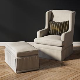 Sherill Furniture Swivel Rocker with ottoman 3d model Download  Buy 3dbrute