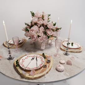 Table setting with roses 3d model Download  Buy 3dbrute