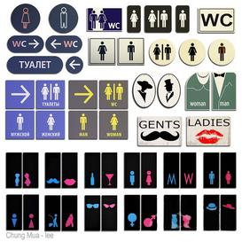 Bathroom signage logos 3d model Download  Buy 3dbrute