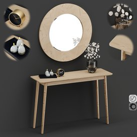 Midford Console Table And Round Mirror 3d model Download  Buy 3dbrute