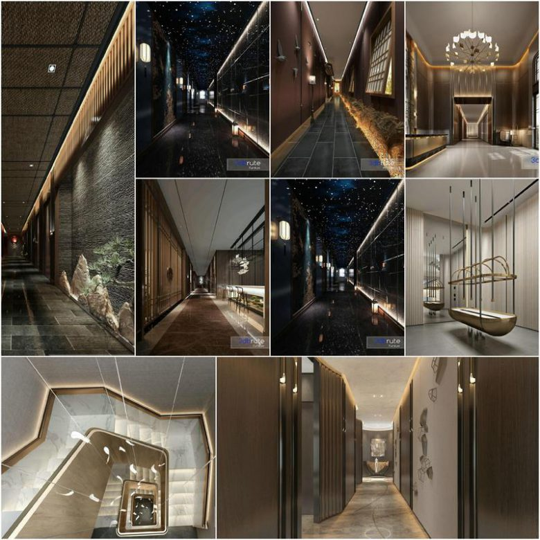 Elevator Stairs Corridor 2020 3d model Download  Buy 3dbrute
